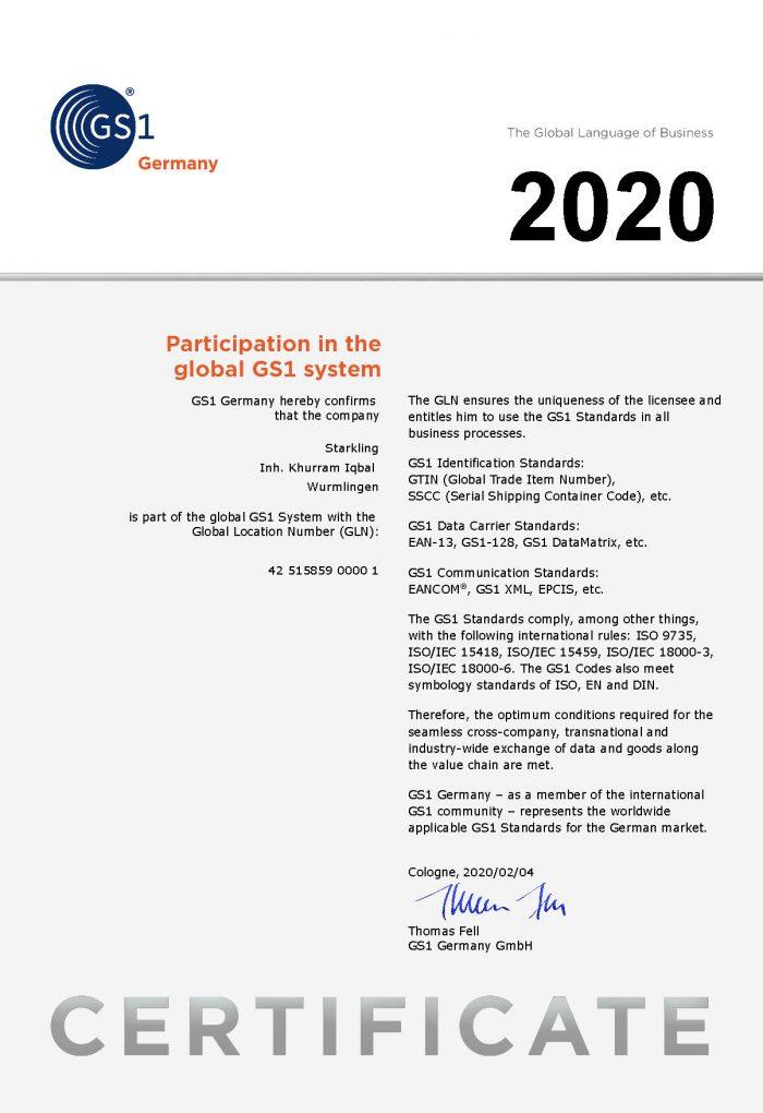 GS1 Certificate EN GLN 2020