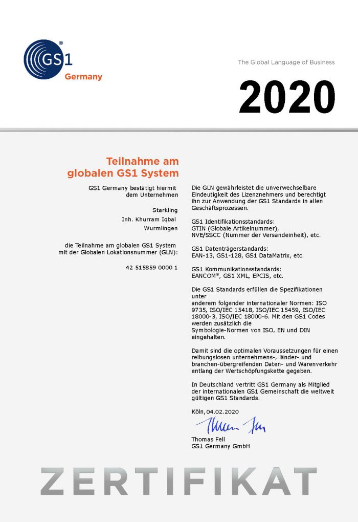 GS1 Zertifikat DE GLN 2020