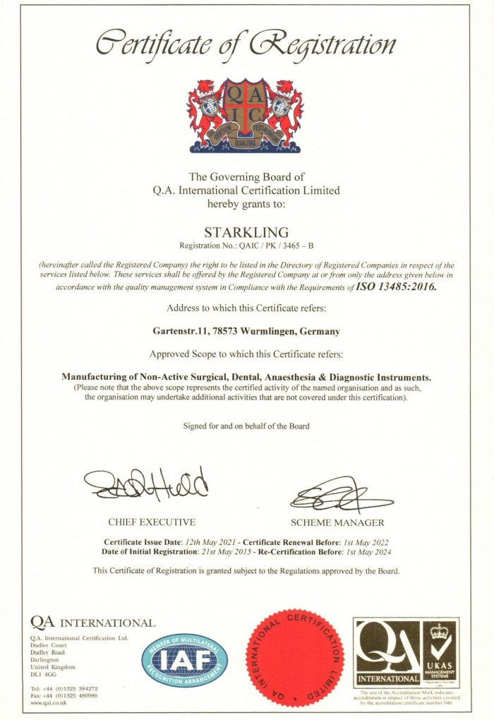 Starkling ISO 13485 von 2021
