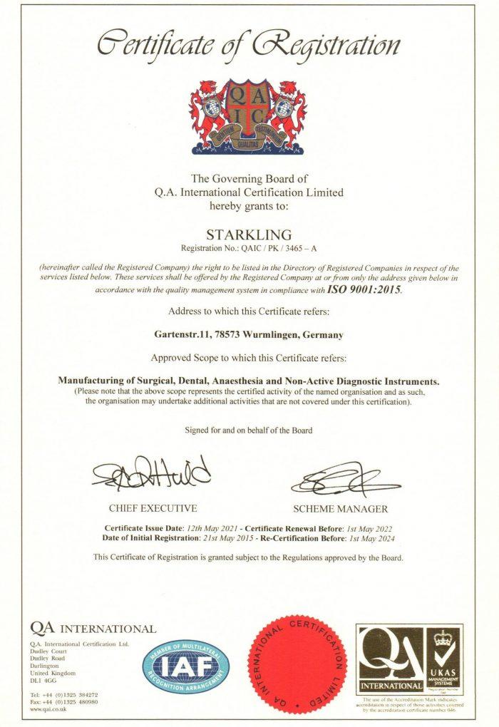 Starkling ISO 9001 von 2021