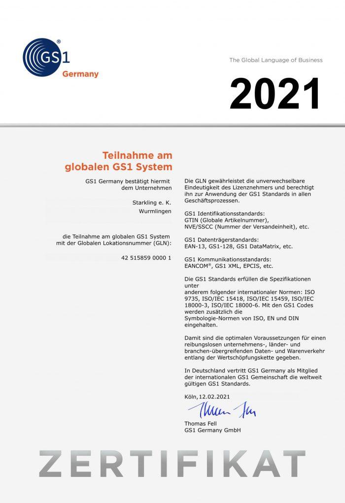 Zertifikat GLN 2021 D360002